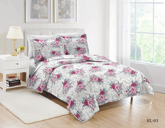 floral print quilted coverlet