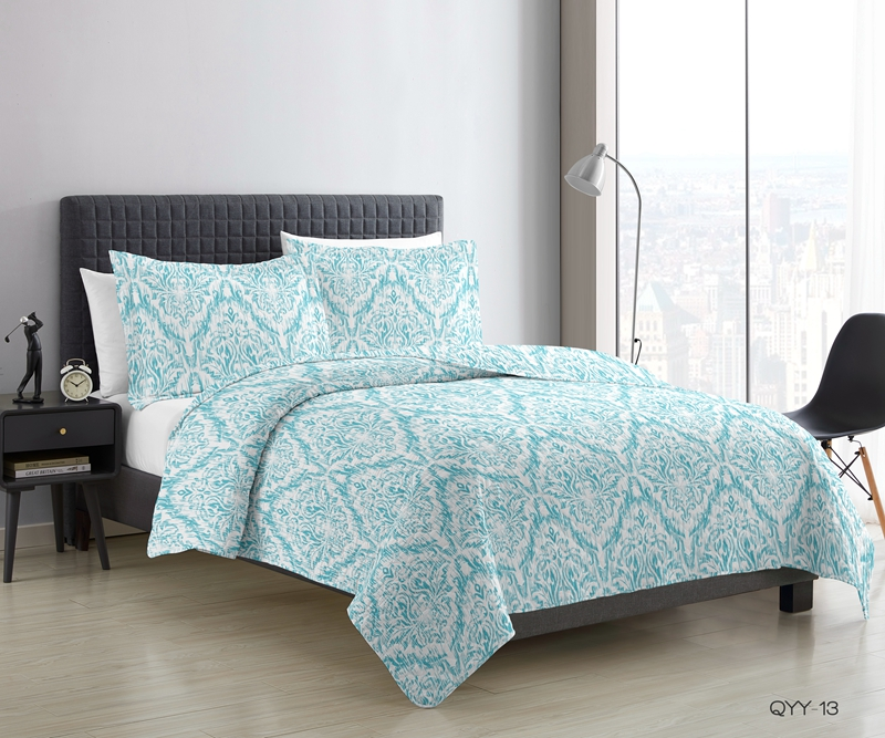 blue damask ogee quilted coverlet