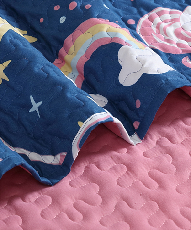 navy pink unicorn quilt set