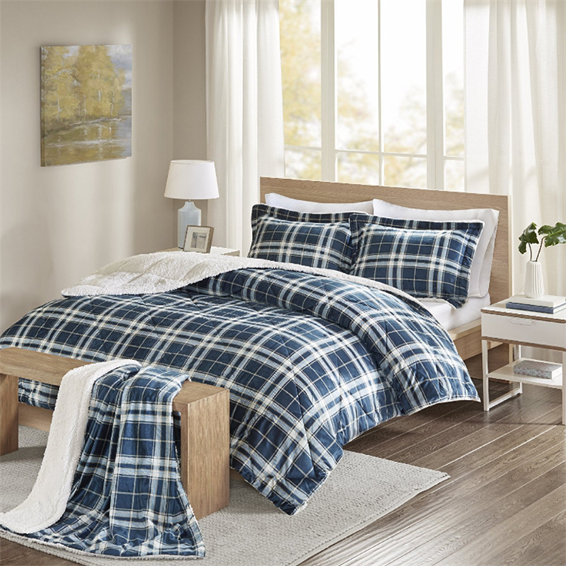 plaid comforter set flannel sherpa